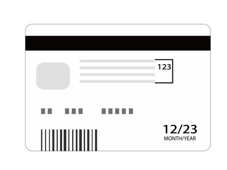 Cashless payment credit card back side