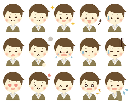 A bunch of facial expressions for boys