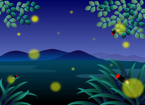 Summer landscape with fireflies