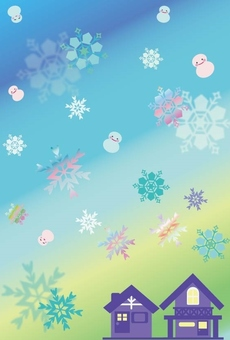 Snow crystal and log house ~ background