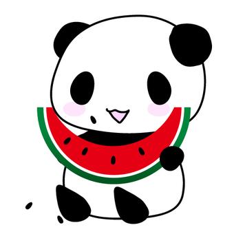 Illustration of panda and watermelon ②