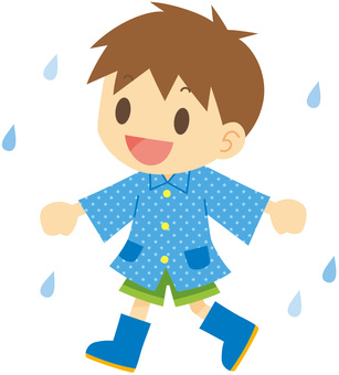Boy in raincoat and boots