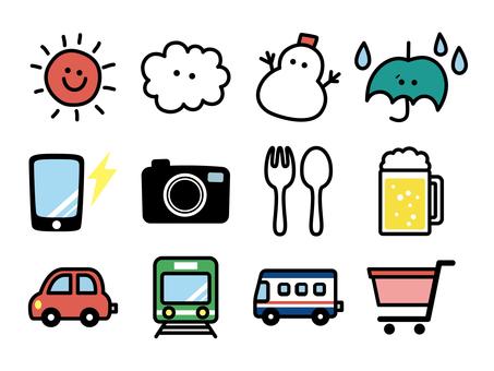 Emoji character icon illustration material <Life>
