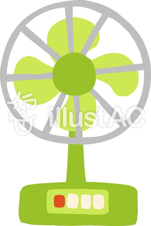ほっこりかわいい手描きのレトロな扇風機イラスト No 1100696無料