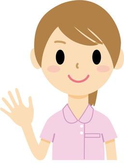 Women raising their hands 4 (nurses)