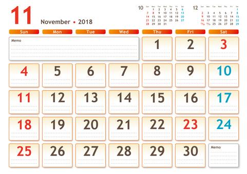 2018年カレンダー 11月