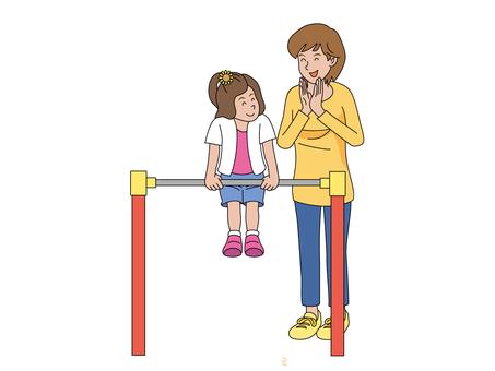 媽媽和女兒練習鋼筋