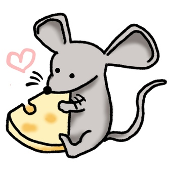 A mouse holding a cheese