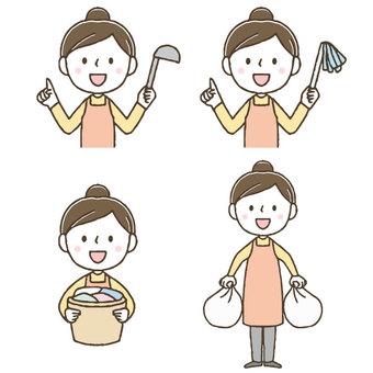 家事をするかわいい主婦セット/手描き