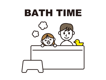 Bath with parent and child