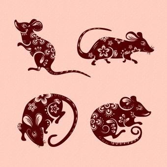 잘라 그림 바람 쥐 8