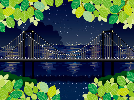 Fresh green green and night rainbow bridge