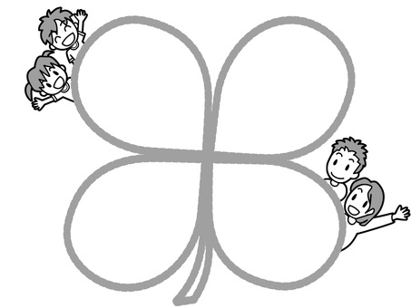 Clover frame waving your hands with parent and child (black and white)
