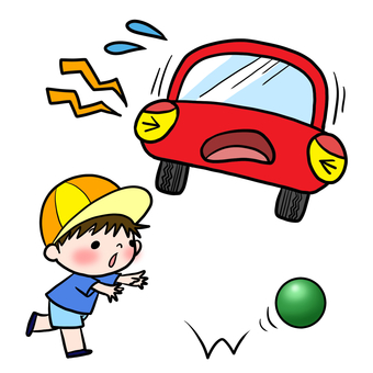 Traffic safety jump out Attention ball and boy