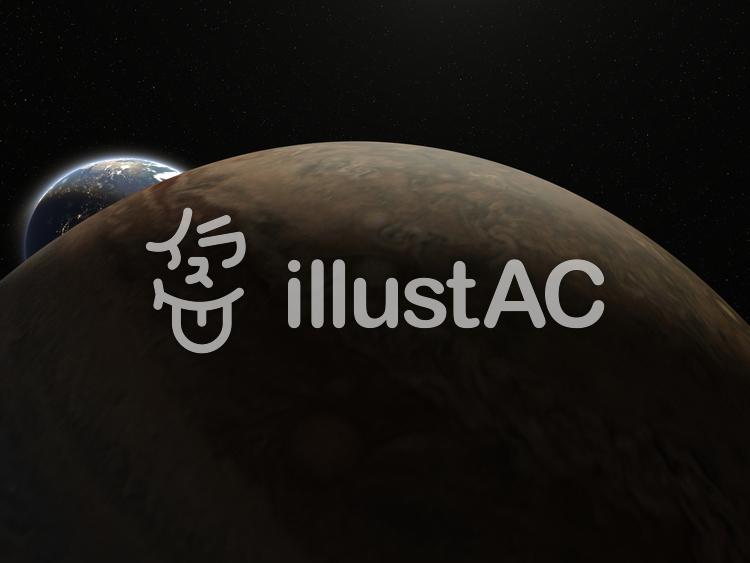 ジュピター(木星)と地球のイラスト