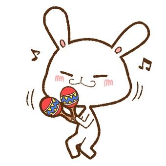 White rabbit waving and dancing maracas