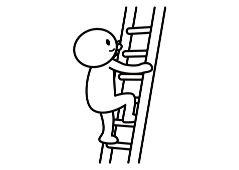 Stickman - climbing a ladder