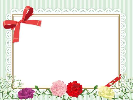 母親節康乃馨的花圈卡片黃綠色06