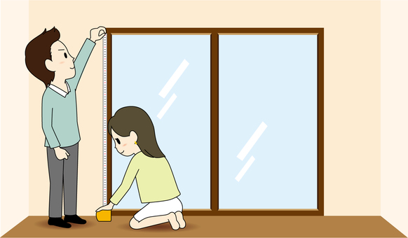 Room search: couple measuring the size of the window