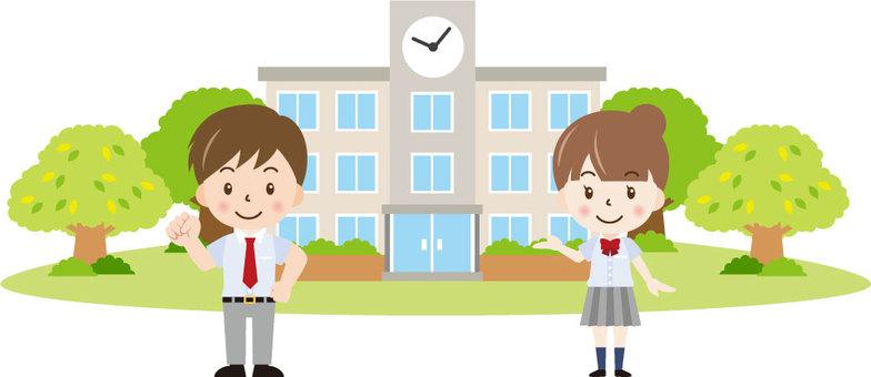 學校建築和夏季學校的學生