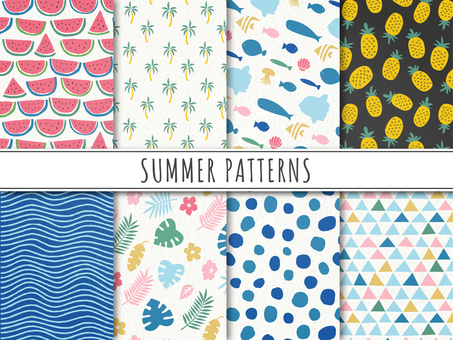 Cute pattern set of summer motifs