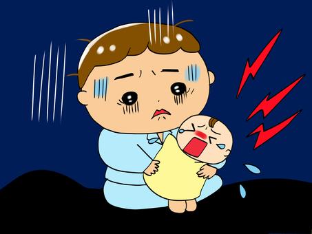 Dad and baby crying at night