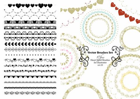 Heart-themed brush set