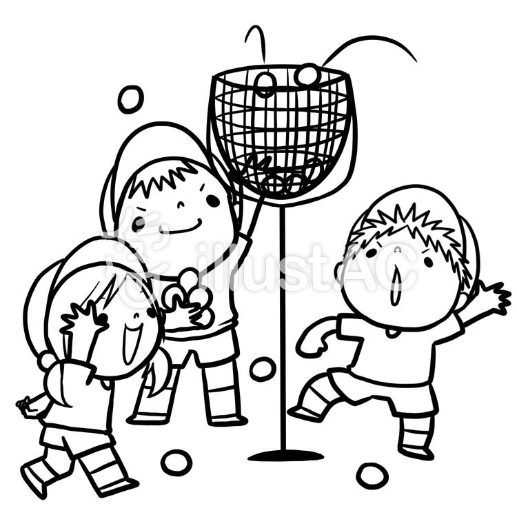 運動会玉入れ子供達線画塗り絵イラスト No 864597無料イラストなら