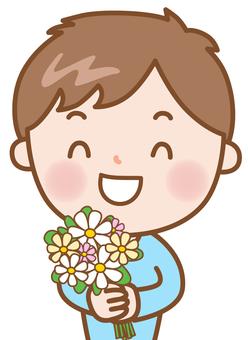 소년 + 꽃다발