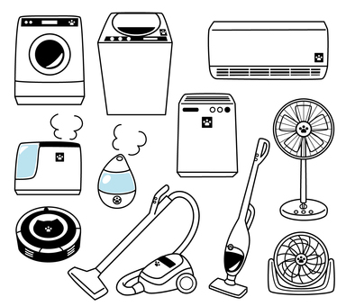 Household appliance set (line drawing)
