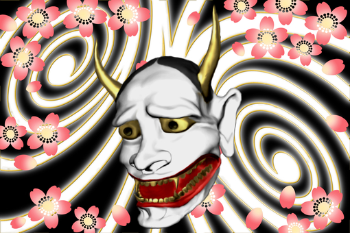 Hannya and cherry blossoms