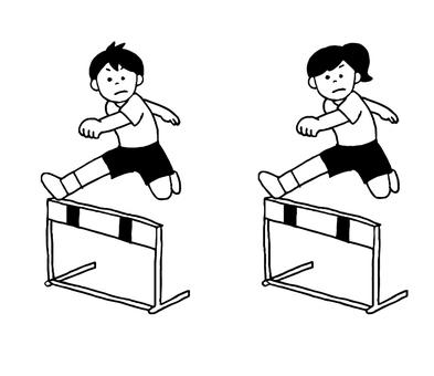 ハードルを飛ぶ女性男性(シンプル)