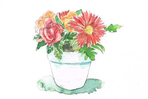 Potted flower watercolor
