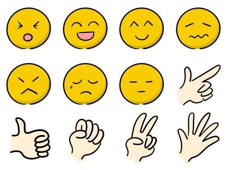 Various facial expressions and hand shapes