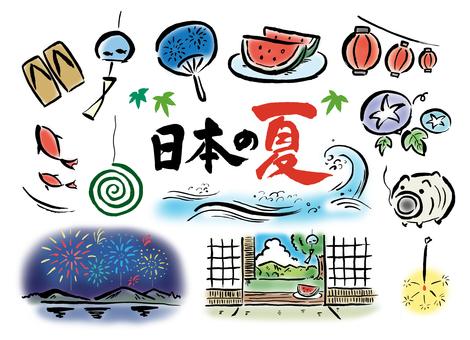 筆描きの日本の夏カラー