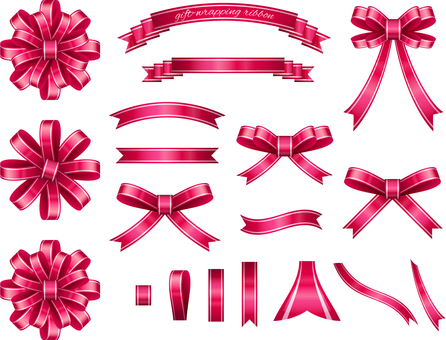 Ribbon set for pink wrapping