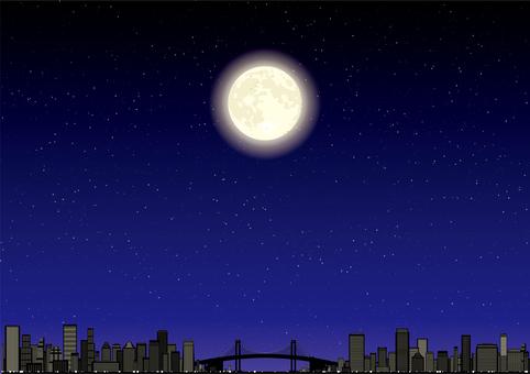 도시의 빌딩 야경 보름달