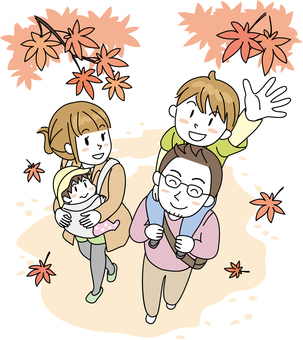 Family family autumn leaves