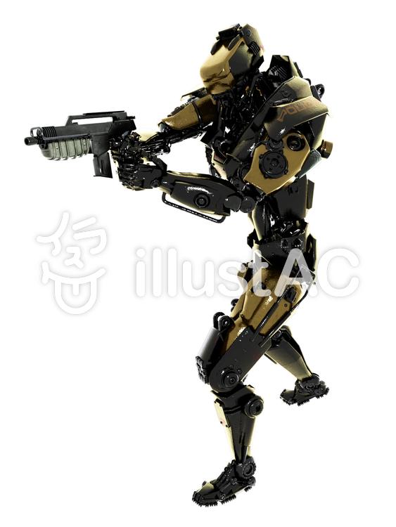 銃を構えるロボットポリスイラスト No 1395481 無料イラストなら