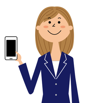 Woman in suit showing smartphone