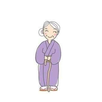 Grandma with a cane