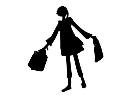 Shopping girls silhouette