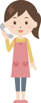 Lady   housewife   apron   phone