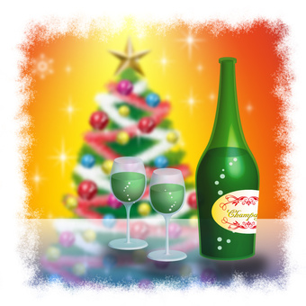 Christmas image Champagne and tree