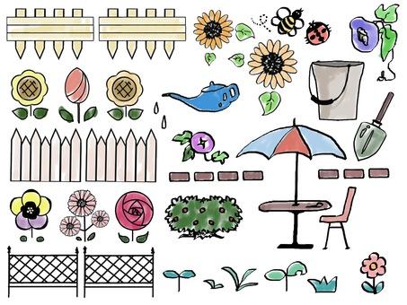 Gardening color illustration