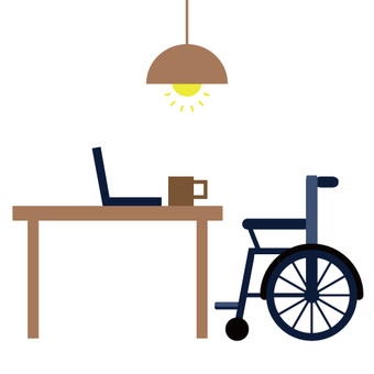 Working with a table with a wheel chair image