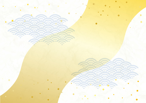 River image Japanese paper style gilt scattering