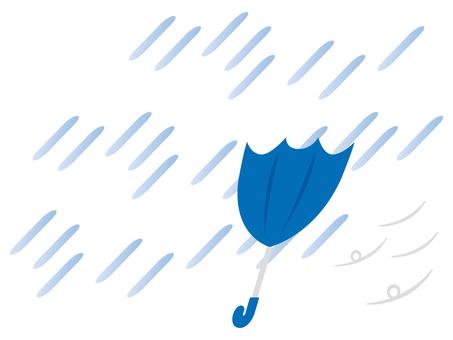 ひっくり返る傘と雨