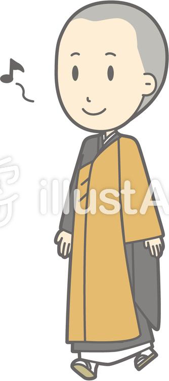 僧侶若者a-歩く-全身のイラスト