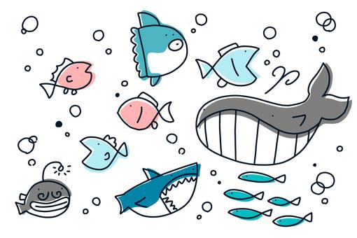 【Handwritten illustration】 Fish